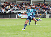 Sam Wood of Wycombe Wanderers hits his shot against the bar during the Friendly match between Maidenhead United and Wycombe Wanderers at York Road, Maidenhead, England on 30 July 2016. Photo by Alan  Stanford PRiME Media Images.