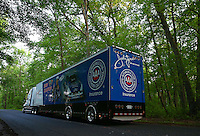 May 29, 2013; Englishtown, NJ, USA: The car hauler of NHRA funny car driver Robert Hight drives down Pension Road on its way to Raceway Park. Mandatory Credit: Mark J. Rebilas-