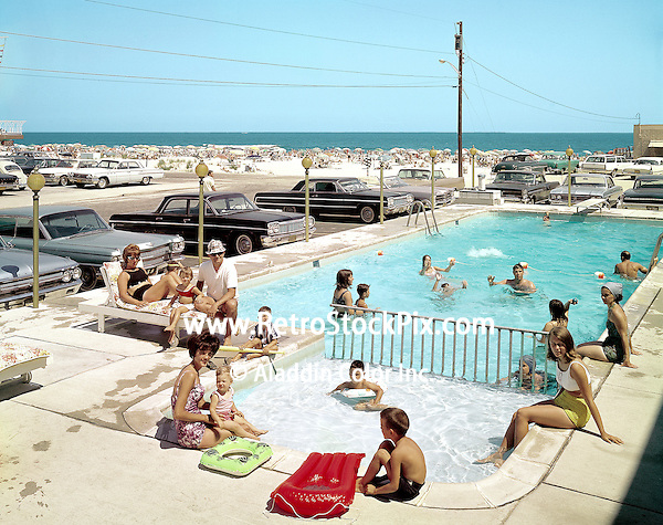 Gondolier Motel, Wildwood, NJ. 1964 Kiddie Pool area with floats and little children.