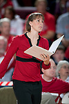 Wisconsin Badgers assistant coach Colleen Bayer during an NCAA volleyball match against the Michigan Wolverines at the Field House on October 30, 2010 in Madison, Wisconsin. Michigan won the match 3-1. (Photo by David Stluka)