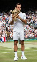 Roger Federer (3) of Switzerland celebrates with the trophy after his defeat of Marin Cilic (7) of Croatia in their Gentlemen's Singles Final - Federer def Cilic 6-3, 6-1, 6-4<br /> <br /> Photographer Ashley Western/CameraSport<br /> <br /> Wimbledon Lawn Tennis Championships - Day 13 - Sunday 16th July 2017 -  All England Lawn Tennis and Croquet Club - Wimbledon - London - England<br /> <br /> World Copyright &not;&copy; 2017 CameraSport. All rights reserved. 43 Linden Ave. Countesthorpe. Leicester. England. LE8 5PG - Tel: +44 (0) 116 277 4147 - admin@camerasport.com - www.camerasport.com