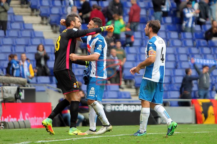 League Santander 2016/2017. Game: 9.<br /> RCD Espanyol vs SD Eibar: 3-3.<br /> Diego Lopez, Martin Demichelis &amp; Victor Sanchez.