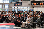 June 14th, 2012: Tokyo, Japan - Visitors  listen to the speech from the president of Japan Toy Association, Takeo Takasu during the open ceremony of International Tokyo Toy Show 2012 at Tokyo Big Sight in Tokyo, Japan. This event lasts from June 14th to 17th.  (Photo by Yumeto Yamazaki/AFLO)