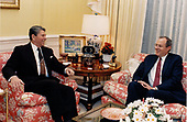 United States President Ronald Reagan, left, meets with Judge Anthony M. Kennedy, right, his nominee to be Associate Justice of the Supreme Court replacing Justice Lewis F. Powell Jr., in the White House Residence in Washington, DC on Monday, November 9, 1987.<br /> Mandatory Credit: Mary Anne Fackelman-Miner / White House via CNP