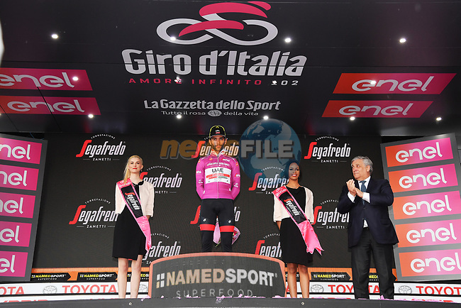 An unhappy Fernando Gaviria (COL) UAE Team Emirates is awarded the stage win and the Maglia Ciclamino after first across the line Italian Champion Elia Viviani (ITA) Deceuninck-Quick Step is relegated by the UCI after the finish of Stage 3 of the 2019 Giro d'Italia, running 220km from Vinci to Orbetello, Italy. 13th May 2019<br /> Picture: Gian Mattia D'Alberto/LaPresse | Cyclefile<br /> <br /> All photos usage must carry mandatory copyright credit (© Cyclefile | Gian Mattia D'Alberto/LaPresse)