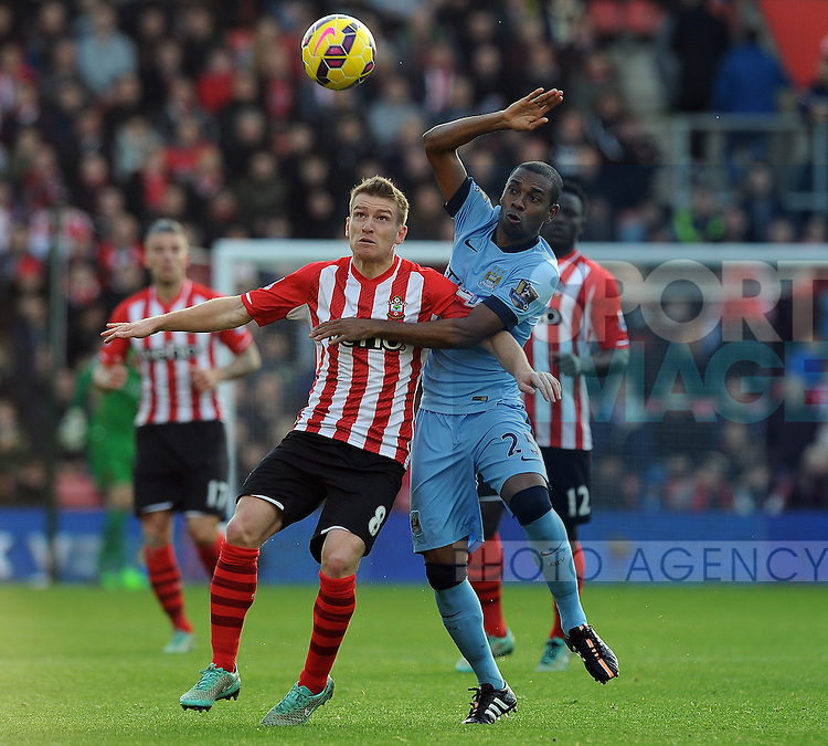 Steven Davis of Southampton is challenged by Fernandinho of Manchester City<br /> - Barclays Premier League - Southampton vs Manchester City - St Mary's Stadium - Southampton - England - 30th November 2014 - Pic Robin Parker/Sportimage