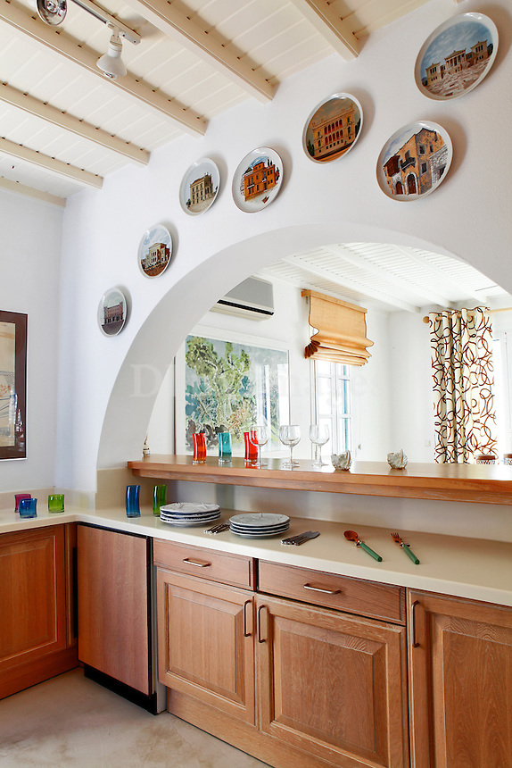 contemporary kitchen with arch window