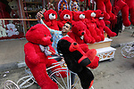 A Palestinian youth takes a selfie with red and black teddy bears on Valentine's day in Gaza city on February 14, 2018. Valentine's Day is increasingly popular in the takes region as people have taken up the custom of giving flowers, cards, chocolates and gifts to sweethearts to celebrate the occasion. Photo by Ashraf Amra
