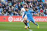 Getafe CF's Angel Rodriguez and Valencia CF's Daniel Parejo during La Liga match between Getafe CF and Valencia CF at Coliseum Alfonso Perez in Getafe, Spain. November 10, 2018.