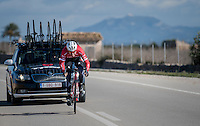 sprint lead-out training at the Team Trek-Segafredo training camp with a full on sprint by Boy van Poppel (NED/Trek-Segafredo)<br /> <br /> january 2017, Mallorca/Spain