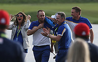 Alex Noren (Team Europe) wins the final match during Sunday's Singles, at the Ryder Cup, Le Golf National, &Icirc;le-de-France, France. 30/09/2018.<br /> Picture David Lloyd / Golffile.ie<br /> <br /> All photo usage must carry mandatory copyright credit (&copy; Golffile | David Lloyd)