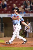 Cedar Rapids Kernels outfielder Max Murphy (11) at bat during a game against the Quad Cities River Bandits on August 19, 2014 at Perfect Game Field at Veterans Memorial Stadium in Cedar Rapids, Iowa.  Cedar Rapids defeated Quad Cities 5-3.  (Mike Janes/Four Seam Images)