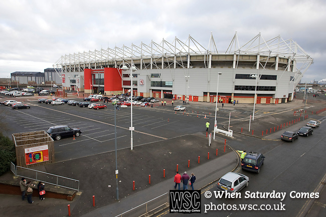 Middlesbrough 1 Preston North End 1, 22/01/2011. Riverside Stadium, Championship. Fans arriving outside Middlesbrough FC's Riverside Stadium prior to the club playing host to Preston North End in an Npower Championship fixture. The match ended in a one-all draw watched by a crowd of 16,157. Middlesbrough relocated from their former home at Ayresome Park in 1995. Photo by Colin McPherson.