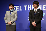 February 19, 2018, Tokyo, Japan - Japanese actor Ryo Yoshizawa (R) and actress Haruka Ayase (L) in uniform of All Nippon Airways (ANA) cabin attendant attend a promotional event for ANA's free Wi-Fi service in Tokyo on Monday, February 19, 2018. Ayase was named as ANA's new CA, communication attendant by ANA president Yuji Hirako.    (Photo by Yoshio Tsunoda/AFLO) LWX -ytd-