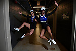 MILWAUKEE, WI - MARCH 18: Middle Tennessee Blue Raiders cheerleaders enter the arena during the 2017 NCAA Men's Basketball Tournament held at BMO Harris Bradley Center on March 18, 2017 in Milwaukee, Wisconsin. (Photo by Jamie Schwaberow/NCAA Photos via Getty Images)