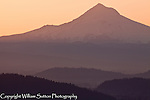 View of Mt. Hood at dawn from Pittock mansion above Portland, Oregon.