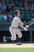 Catcher Shea Langeliers (4) of the Rome Braves, an Atlanta Braves' First-Round pick in the 2019 MLB Draft, bats in a game against the Greenville Drive on Sunday, June 30, 2019, at Fluor Field at the West End in Greenville, South Carolina. Rome won, 6-3. (Tom Priddy/Four Seam Images)
