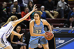 GRAND RAPIDS, MI - MARCH 18: Melissa Baptista (33) of Tufts University looks for an open teammate during the Division III Women's Basketball Championship held at Van Noord Arena on March 18, 2017 in Grand Rapids, Michigan. Amherst defeated 52-29 for the national title. (Photo by Brady Kenniston/NCAA Photos via Getty Images)