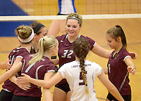 NWA Democrat-Gazette/BEN GOFF @NWABENGOFF<br /> Siloam Springs celebrates a point against Rogers on Thursday Aug. 27, 2015 during the match at Rogers High.