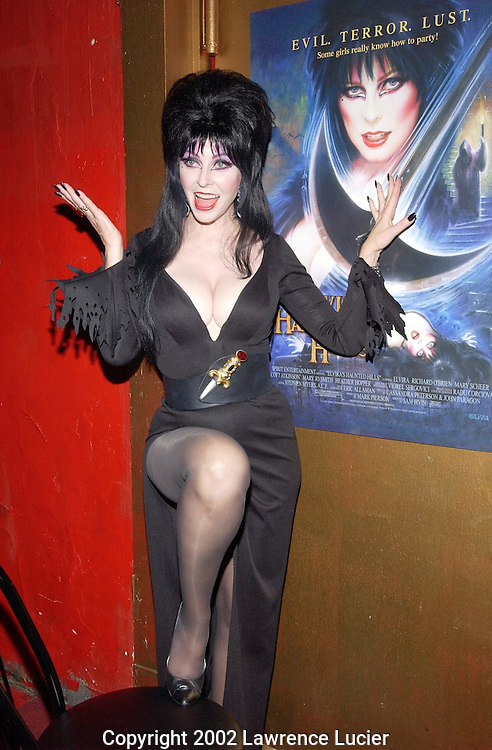 NEW YORK-SEPTEMBER 13: Actress Cassandra Peterson aka Elvira arrives for the premier party for Peterson's new film Elvira's Haunted Hills September 13, 2002, at Lucky Chengs Restaurant in New York City. The film is directed by Sam Irvin.