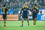 Stockholm 2014-04-16 Fotboll Allsvenskan Djurg&aring;rdens IF - AIK :  <br /> AIK:s Eero Markkanen har gjort 3-0 och gratuleras av AIK:s Robin Quaison och AIK:s Nabil Bahoui  <br /> (Foto: Kenta J&ouml;nsson) Nyckelord:  Djurg&aring;rden DIF Tele2 Arena AIK jubel gl&auml;dje lycka glad happy