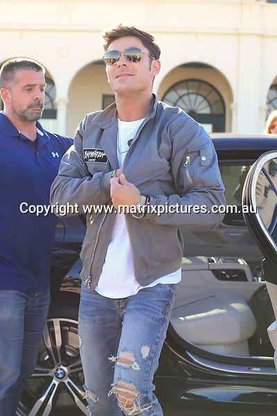 17 MAY 2017 SYDNEY AUSTRALIA<br /> WWW.MATRIXPICTURES.COM.AU<br /> <br /> EXCLUSIVE PICTURES<br /> <br /> Zac Efron on Bondi Beach for Bay watch Photo call.<br /> <br /> Note: All editorial images subject to the following: For editorial use only. Additional clearance required for commercial, wireless, internet or promotional use.Images may not be altered or modified. Matrix Media Group makes no representations or warranties regarding names, trademarks or logos appearing in the images.