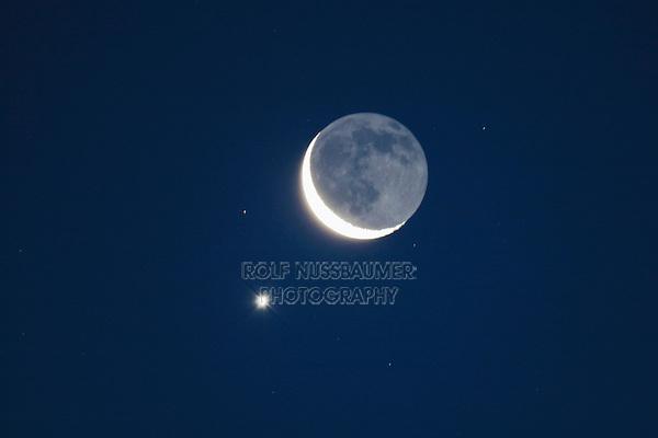 Moon and Venus, Texas, USA