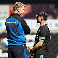 Ospreys Backs Coach Gruff Rees talks to Leinster's Head Coach Leo Cullen during the pre match warm up<br /> <br /> Photographer Simon King/CameraSport<br /> <br /> Guinness PRO12 Round 19 - Ospreys v Leinster Rugby - Saturday 8th April 2017 - Liberty Stadium - Swansea<br /> <br /> World Copyright &copy; 2017 CameraSport. All rights reserved. 43 Linden Ave. Countesthorpe. Leicester. England. LE8 5PG - Tel: +44 (0) 116 277 4147 - admin@camerasport.com - www.camerasport.com