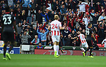 Jese of Stoke City celebrates scoring his goal to make it 1-0 with Stoke City fans in the background during the premier league match at the Britannia Stadium, Stoke. Picture date 19th August 2017. Picture credit should read: Robin Parker/Sportimage