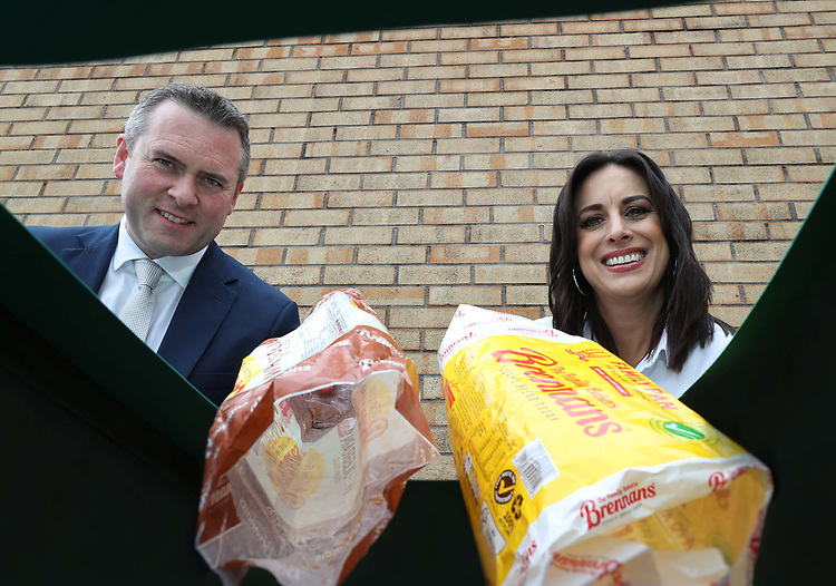 """No Repro Fee.<br />Broadcaster and TV presenter Lucy Kennedy pictured with Ivan Hammond, Head of Marketing at Brennans Bakeries at the launch of its new sustainability campaign. Brennans Bread waxpackaging used for many of its products, including the popular Family Pan white sliced pan, is now 100% recyclable and industrial compostable. This means the wax paper wrapping can go into either the green recyclable bin or the brown compost bin."""" Pic. Robbie Reynolds"""
