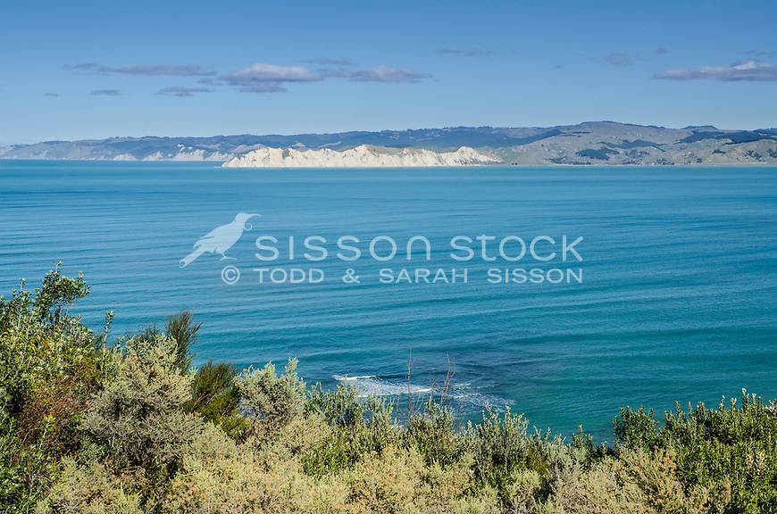 View from Gisborne city town lookout towards Muriwai headland cliffs. North Island New Zealand.