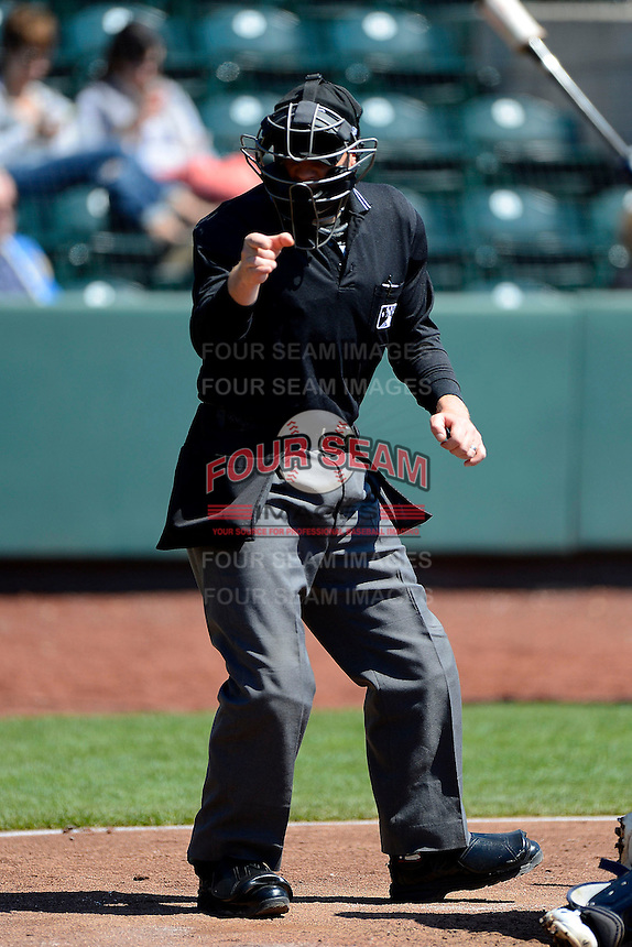Umpire Max Guyll during a game between the Columbus Clippers and Toledo Mudhens on April 22, 2013 at Huntington Park in Columbus, Ohio.  Columbus defeated Toledo 3-0.  (Mike Janes/Four Seam Images)