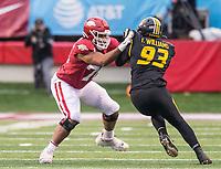 Hawgs Illustrated/BEN GOFF <br /> Myron Cunningham, Arkansas left tackle, blocks Tre Williams, Missouri defensive end, in the third quarter Saturday, Nov. 29, 2019, at War Memorial Stadium in Little Rock.