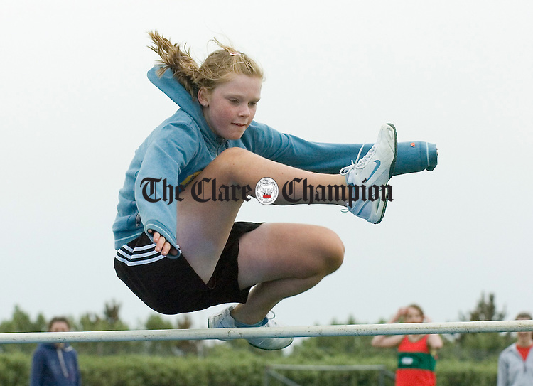 Orla Donnellan competing in the high jump at the Clare Track and Field championships at Mullagh. Photograph by John Kelly.
