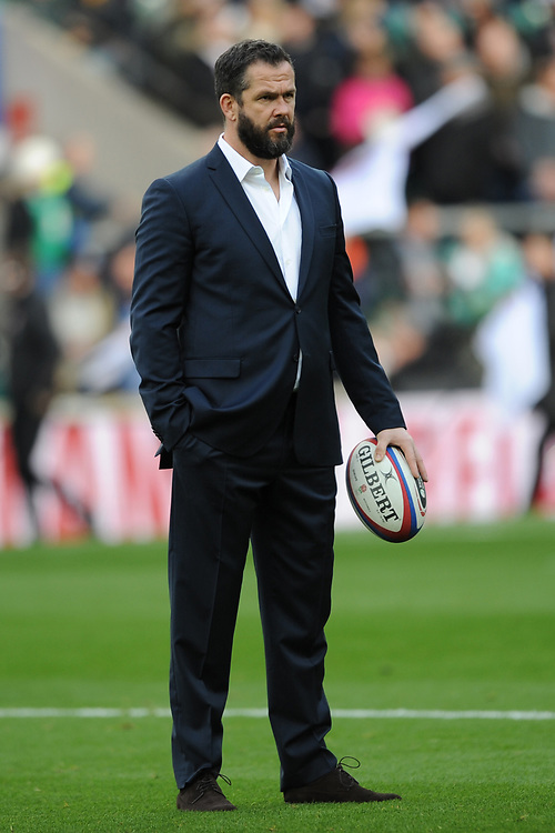 Ireland Head Coach Andy Farrell during the Guinness Six Nations match between England and Ireland at Twickenham Stadium on Sunday 23rd February 2020 (Photo by Rob Munro/Stewart Communications)