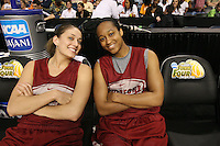 5 April 2008: Stanford Cardinal Michelle Harrison (left) and Melanie Murphy (right) during Stanford's 2008 NCAA Division I Women's Basketball Final Four open practice at the St. Pete Times Forum Arena in Tampa Bay, FL.