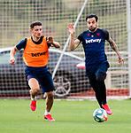 UD Levante's Enis Bardhi (l) and Tono Garcia during training session. June 2,2020.(ALTERPHOTOS/UD Levante/Pool)
