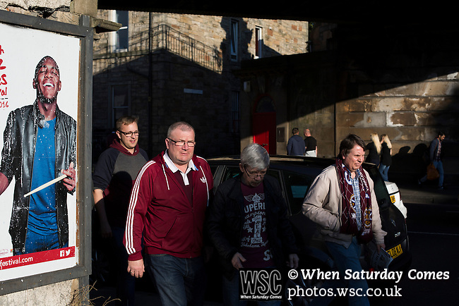 Heart of Midlothian 1 Birkirkara 2, 21/07/2016. Tynecastle Park, UEFA Europa League 2nd qualifying round. Home fans walking along Gorgie Road towards Tynecastle Park, Edinburgh before Heart of Midlothian played Birkirkara of Malta in a UEFA Europa League 2nd qualifying round, second leg. The match ended in victory for the Maltese side by 2-1 and they progressed on aggregate after the first match had ended 0-0. The game was watched by 14301 spectators, including 56 visiting fans of Birkirkara. Photo by Colin McPherson.