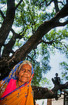 An elderly woman in a rural village in the Deccan Development society standing under a Neem tree. Deccan Plateau, Central India.<br /> The  Neem tree has  huge variety of uses.