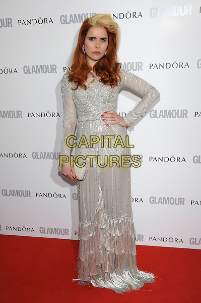 Paloma Faith.Women Of The Year 2012 - Glamour Awards, Berkeley Square, London, England..29th May 2012.full length white fringed dress hand on hip lace long sleeves clutch bag silver  embellished jewel encrusted.CAP/PL.©Phil Loftus/Capital Pictures.