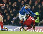 05.12.2018 Rangers v Aberdeen: Glenn Middleton fouled by Shay Logan