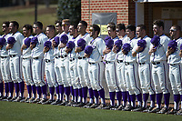The High Point Panthers lineup for the National Anthem prior to the game against the NJIT Highlanders at Williard Stadium on February 19, 2017 in High Point, North Carolina. The Panthers defeated the Highlanders 6-5. (Brian Westerholt/Four Seam Images)