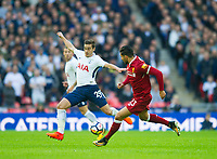 Liverpool's Emre Can and Tottenham's Harry Winks during the Premier League match between Tottenham Hotspur and Liverpool at Wembley Stadium, London, England on 22 October 2017. Photo by Andrew Aleksiejczuk / PRiME Media Images.