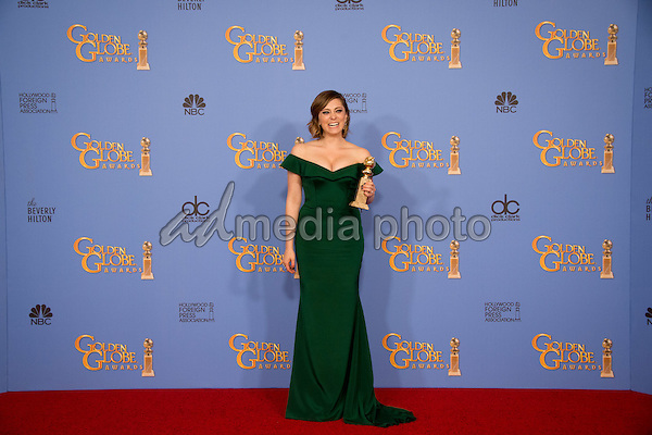 "After winning the category of BEST PERFORMANCE BY AN ACTRESS IN A TELEVISION SERIES – COMEDY OR MUSICAL for her role in ""Crazy Ex-Girlfriend,"" actress Rachel Bloom poses backstage in the press room with her Golden Globe Award at the 73rd Annual Golden Globe Awards at the Beverly Hilton in Beverly Hills, CA on Sunday, January 10, 2016. Photo Credit: HFPA/AdMedia"