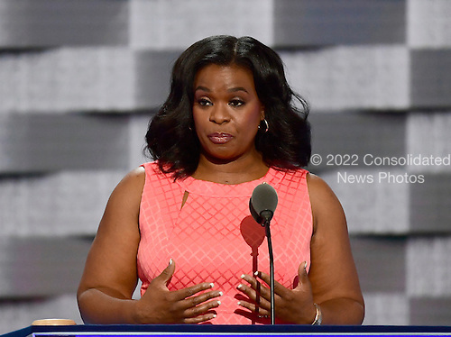 Cheryl Lankford of San Antonio, Texas, who lost money dealing with Trump University, makes remarks at the 2016 Democratic National Convention at the Wells Fargo Center in Philadelphia, Pennsylvania on Monday, July 25, 2016.<br /> Credit: Ron Sachs / CNP<br /> (RESTRICTION: NO New York or New Jersey Newspapers or newspapers within a 75 mile radius of New York City)