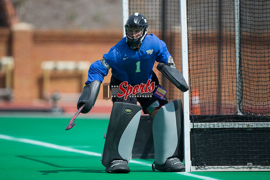 Valerie Dahmen (1) of the Wake Forest Demon Deacons defends her goal during second half action against the Liberty Flames at Kentner Stadium on September 20, 2015 in Winston-Salem, North Carolina.  The Demon Deacons defeated the Flames 2-1.  (Brian Westerholt/Sports On Film)