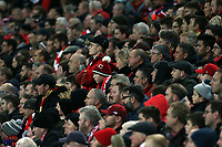 Liverpool fans look on in frustration as the game draws to a close<br /> <br /> Photographer Rich Linley/CameraSport<br /> <br /> UEFA Champions League Round of 16 First Leg - Liverpool and Bayern Munich - Tuesday 19th February 2019 - Anfield - Liverpool<br />  <br /> World Copyright © 2018 CameraSport. All rights reserved. 43 Linden Ave. Countesthorpe. Leicester. England. LE8 5PG - Tel: +44 (0) 116 277 4147 - admin@camerasport.com - www.camerasport.com