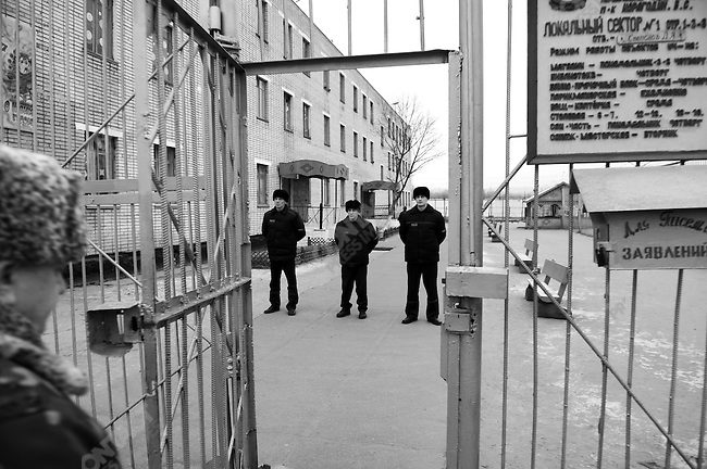 Prisoners lined up to meet the commander of the prison, Colonel Vladimir S. Karagodin, as he visited one of the barracks where some of the elderly and invalid prisoners are housed. Prison colony #7 outside of Novgorod in the Novgorod region south of St. Petersburg, Russia, December 15, 2008