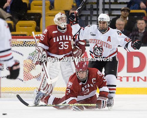 Ryan Carroll (Harvard - 35), Alex Biega (Harvard - 3), Greg Costa (NU - 22) - The Northeastern University Huskies defeated the Harvard University Crimson 4-1 (EN) on Monday, February 8, 2010, at the TD Garden in Boston, Massachusetts, in the 2010 Beanpot consolation game.