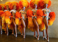 Dancers of the French cabaret Moulin Rouge  during a presentation for the press in  Rio de Janeiro, Brazil, February 20, 2009. The Moulin Rouge dancers will take part in the Grande Rio samba school carnival parade.